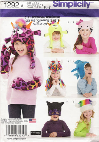 Simplicity 1292 Child's Hat and Mittens in Three Sizes Hat S,M,L - A (S-M-L) - Smiths Depot Sewing Pattern Superstore