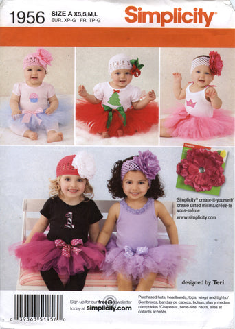 Simplicity 1956 Babies' Tutu and Appliques -  - Smiths Depot Sewing Pattern Superstore
