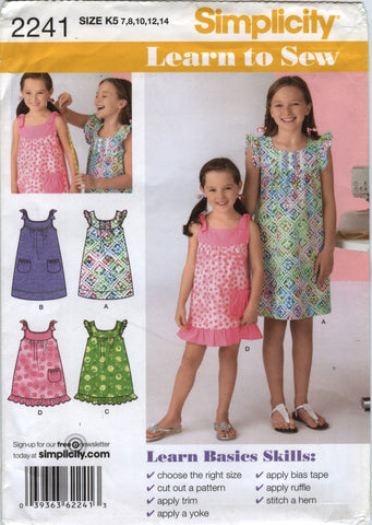 Simplicity 2241 Child's/Girls' Dress in Two Lengths - K5 (7-8-10-12-14) - Smiths Depot Sewing Pattern Superstore