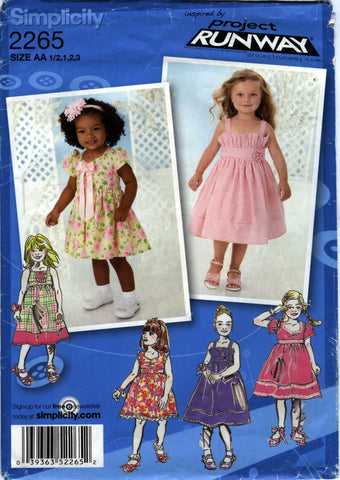 Simplicity 2265 Toddlers'/Child's Dress in Two Lengths with Bodice Variations - AA (½-1-2-3) - Smiths Depot Sewing Pattern Superstore  - 1