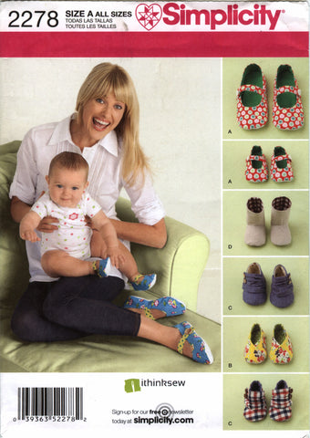 Simplicity 2278 Misses'/Babies Shoes -  - Smiths Depot Sewing Pattern Superstore