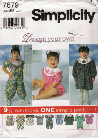Simplicity 7679 Toddlers' Dress, Jumpsuit and Romper - BB (2-3-4) - Smiths Depot Sewing Pattern Superstore