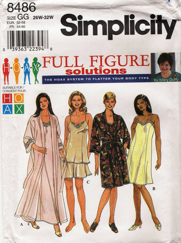 Simplicity 8486 Women's/Women's Petite Slip or Nightgown, Camisole, Tap Pants and Robe - GG (26W-28W-30W-32W) - Smiths Depot Sewing Pattern Superstore