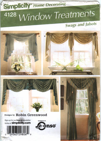 Simplicity 4128 Swag and Jabots Windows Treatment -  - Smiths Depot Sewing Pattern Superstore