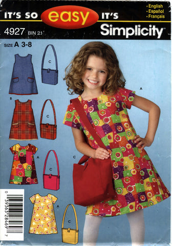 Simplicity 4927 Child's Dress and Hand Bag Purse - A (3-4-5-6-7-8) - Smiths Depot Sewing Pattern Superstore