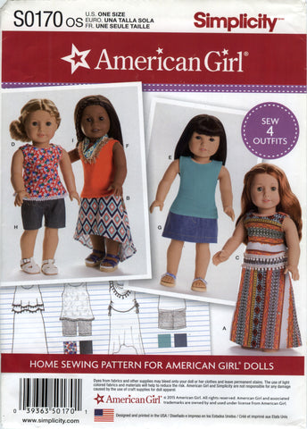 "Simplicity 0170 American Girl 18"" Doll Clothes -  - Smiths Depot Sewing Pattern Superstore"
