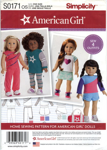 "Simplicity 0171 American Girl 18"" Doll Clothes -  - Smiths Depot Sewing Pattern Superstore"