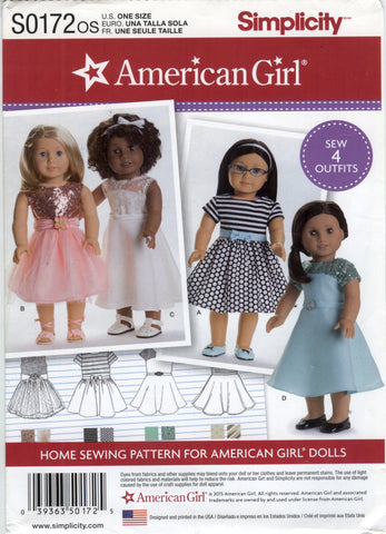 "Simplicity 0172 American Girl 18"" Doll Clothes -  - Smiths Depot Sewing Pattern Superstore"