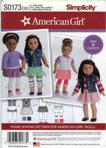 "Simplicity 0173 American Girl 18"" Doll Clothes -  - Smiths Depot Sewing Pattern Superstore"