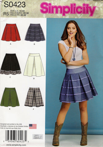 Simplicity 0423 Misses' Skirts with Length and Trim Variations - R5 (14-16-18-20-22) - Smiths Depot Sewing Pattern Superstore