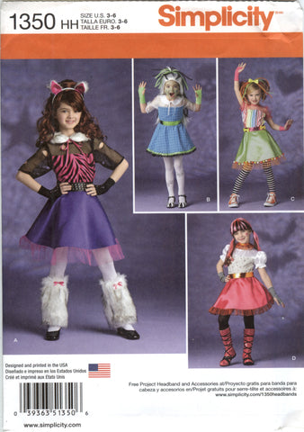 Simplicity 1350 Child's/Girls' Costumes - HH (3-4-5-6) - Smiths Depot Sewing Pattern Superstore  - 1