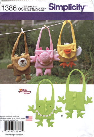 Simplicity 1386 Fleece Animal Hand Bags -  - Smiths Depot Sewing Pattern Superstore