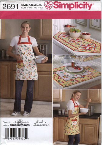 Simplicity 2691 Table Runner, Place Mats, and Apron in Four Sizes -  - Smiths Depot Sewing Pattern Superstore