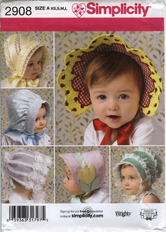 Simplicity 2908 Babies'/Toddlers' Hats in Four Sizes -  - Smiths Depot Sewing Pattern Superstore