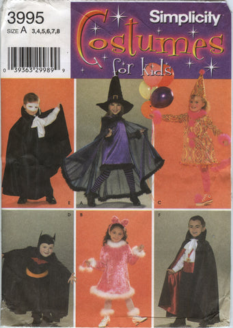 Simplicity 3995 Child's Costumes - A (3-4-5-6-7-8) - Smiths Depot Sewing Pattern Superstore