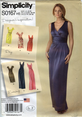 Simplicity 0167 Misses' Dress in Two Lengths with Bodice Variations - H5 (6-8-10-12-14) - Smiths Depot Sewing Pattern Superstore  - 1