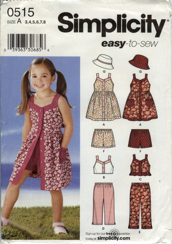 Simplicity 0515 Child's Dress, Top, Pants, Shorts and Hat - A (3-4-5-6-7-8) - Smiths Depot Sewing Pattern Superstore