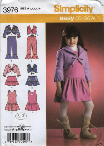 Simplicity 3976 Child's Jacket, Vest, Pants, Skirt and Jumper - A (3-4-5-6-7-8) - Smiths Depot Sewing Pattern Superstore