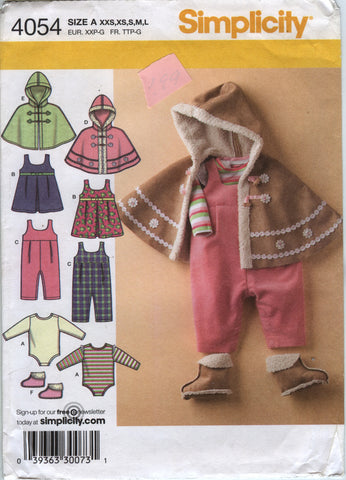 Simplicity 4054 Babies' Jumper, Romper, Poncho, Booties and Knit Bodysuit - A (NB-1-2) - Smiths Depot Sewing Pattern Superstore