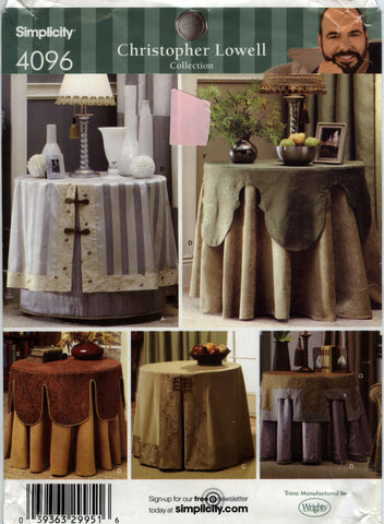 Simplicity 4096 Table Cover and Toppers -  - Smiths Depot Sewing Pattern Superstore