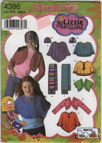 Simplicity 4386 Child's/Girls' Fleece Shrug, Capelet, Scarf and Hat -  - Smiths Depot Sewing Pattern Superstore