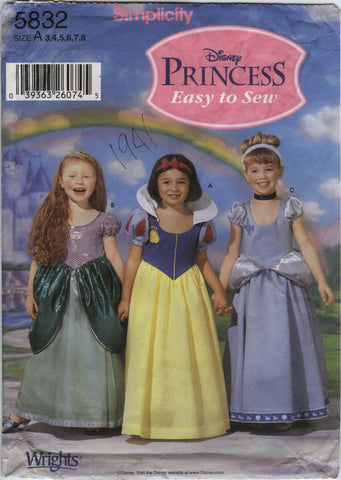 Simplicity 5832 Child's Costumes - A (3-4-5-6-7-8) - Smiths Depot Sewing Pattern Superstore