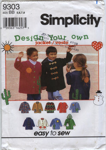 Simplicity 9303 Child's Jackets - BB (5-6-7-8) - Smiths Depot Sewing Pattern Superstore
