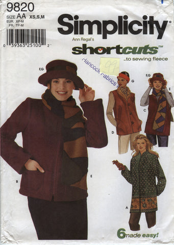 Simplicity 9820 Misses' Jacket in Two Lengths, Vests, Scarf, Hat and Headband - AA (6-8-10-12-14-16) - Smiths Depot Sewing Pattern Superstore