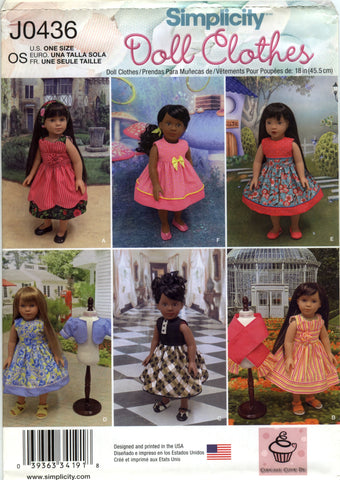 "Simplicity 0436 18"" Doll Clothes -  - Smiths Depot Sewing Pattern Superstore"