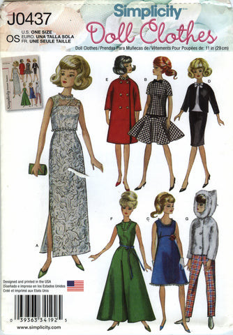 Simplicity 0437 Vintage Doll Clothes for 11½ Fashion Doll -  - Smiths Depot Sewing Pattern Superstore