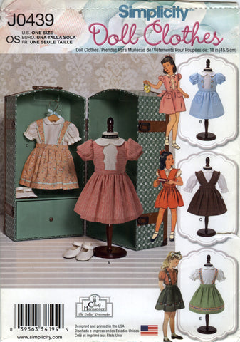 "Simplicity 0439 18"" Doll Clothes -  - Smiths Depot Sewing Pattern Superstore"