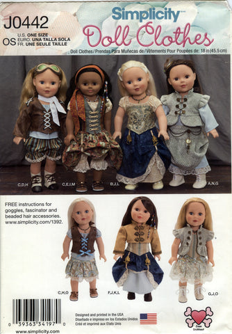 "Simplicity 0442 18"" Doll Clothes -  - Smiths Depot Sewing Pattern Superstore"