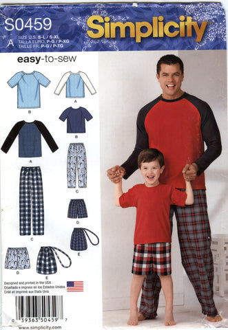 Simplicity 0459 Boys'/Men's Sleepwear Pajams Lounge Wear -  - Smiths Depot Sewing Pattern Superstore