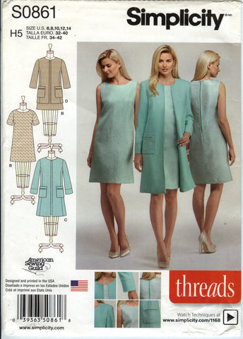 Simplicity 0861 Misses'/Miss Petite Dress in Two Lengths and Lined Coat or Jacket - H5 (6-8-10-12-14) - Smiths Depot Sewing Pattern Superstore  - 1