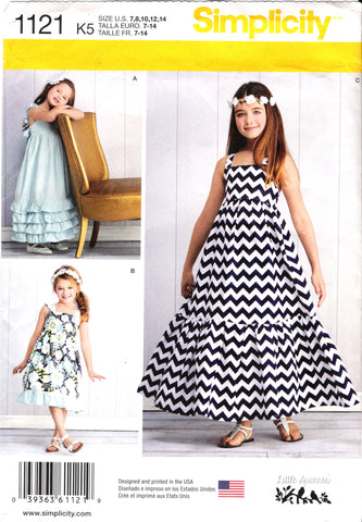 Simplicity 1121 Child's and Girls' Pullover Dresses with Length Variations