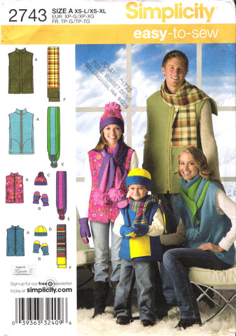 Simplicity 2743 Unisex Child's, Teens'and Adults Vest, Hat, Scarves and Mittens