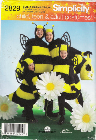 Simplicity 2829 Unisex Child's, Teens' and Adults' Bee Costume