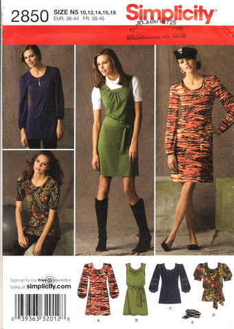 Simplicity 2850 Misses' / Miss Petite Knit Mini Dress or Top and Hat