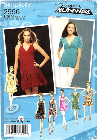 Simplicity 2956 Misses' Knit Dresses or Tunics with Bodice and Skirt Variations