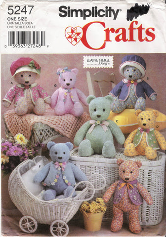 "Simplicity 5247 15"" and 18"" Decorative Bears and Clothes"