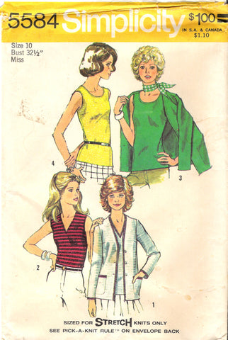 Simplicity 5584 Misses' Unlined Cardigan and Top