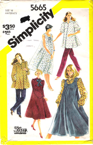 Simplicity 5665 Maternity Go-Everywhere Pants, Dress or Top and Sundress or Jumper in Misses' Sizes