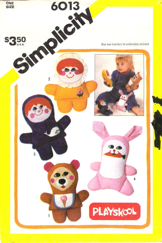 Simplicity 6013 Playskool Finger Puppets