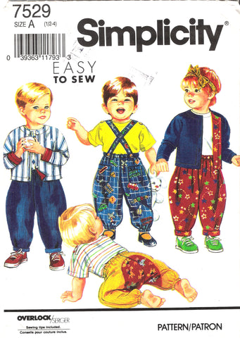 Simplicity 7529 Toddlers' Pants With Detachable Suspenders, Top and Lined Jacket