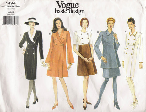 Vogue 1494 Misses' Dress, Tunic and Skirt - (6-8-10) - Smiths Depot Sewing Pattern Superstore