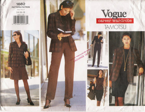 Vogue 1682 Misses' Jacket, Dress, Skirt and Pants - (14-16-18) - Smiths Depot Sewing Pattern Superstore