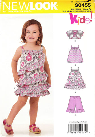 New Look 0455 Toddlers' Five Sizes in One - A (½-1-2-3-4) - Smiths Depot Sewing Pattern Superstore