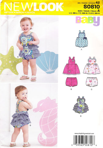 New Look 0810 Babies Four Sizes in One - A (NB-L) - Smiths Depot Sewing Pattern Superstore
