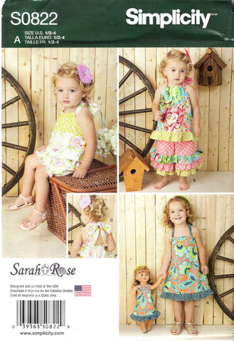 "New Look 0822 Toddlers' Romper, Dress, Top and Pants and 18"" Doll Dress -  - Smiths Depot Sewing Pattern Superstore"