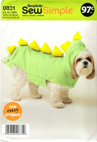 Simplicity 0831 Dog Dragon Costume in Three Sizes -  - Smiths Depot Sewing Pattern Superstore